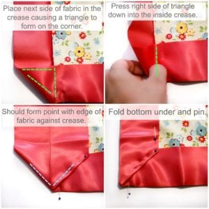 How-to-make-a-mitered-corner-with-satin-blanket-binding-coral-and-co