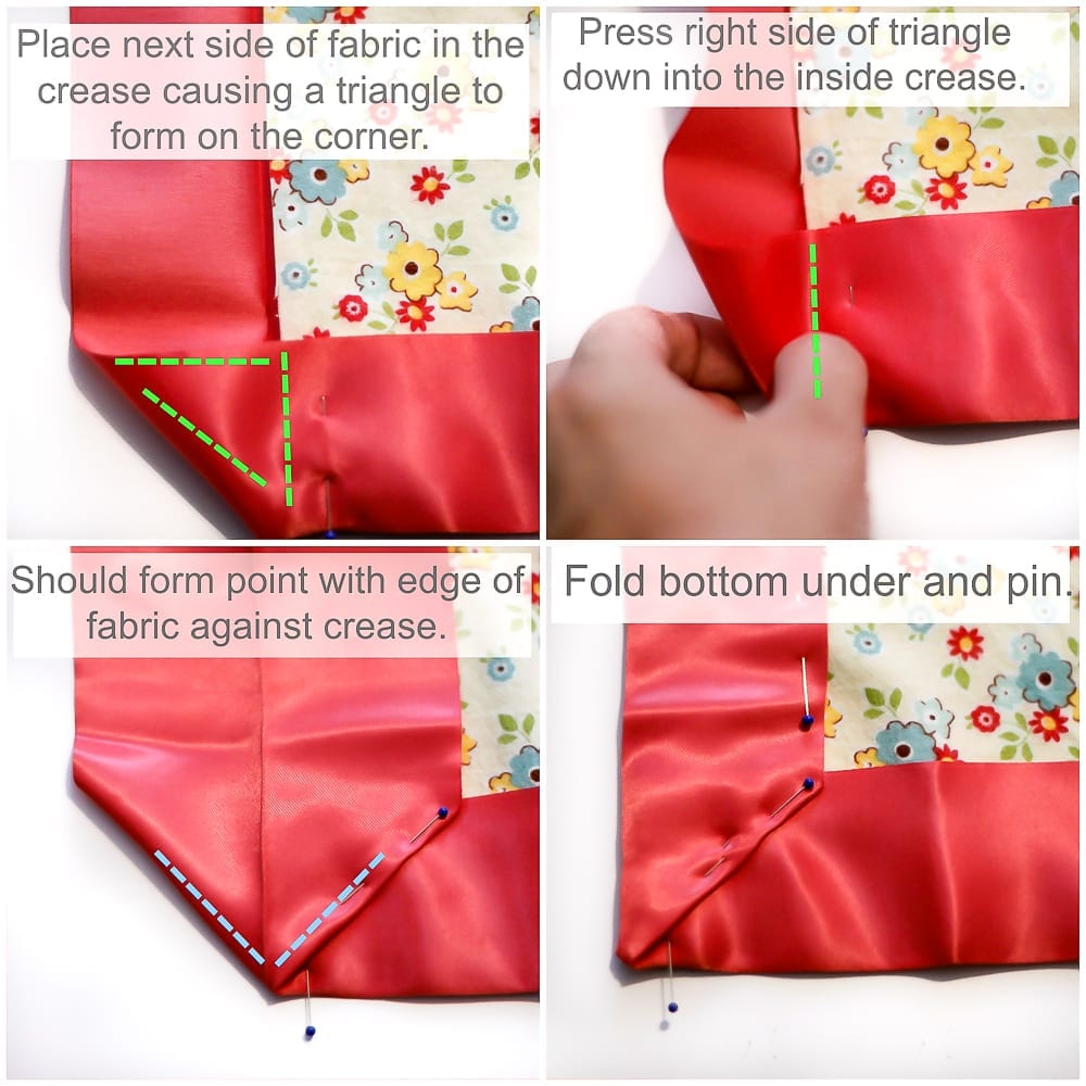 How To Make A Mitered Corner With Satin Blanket Binding