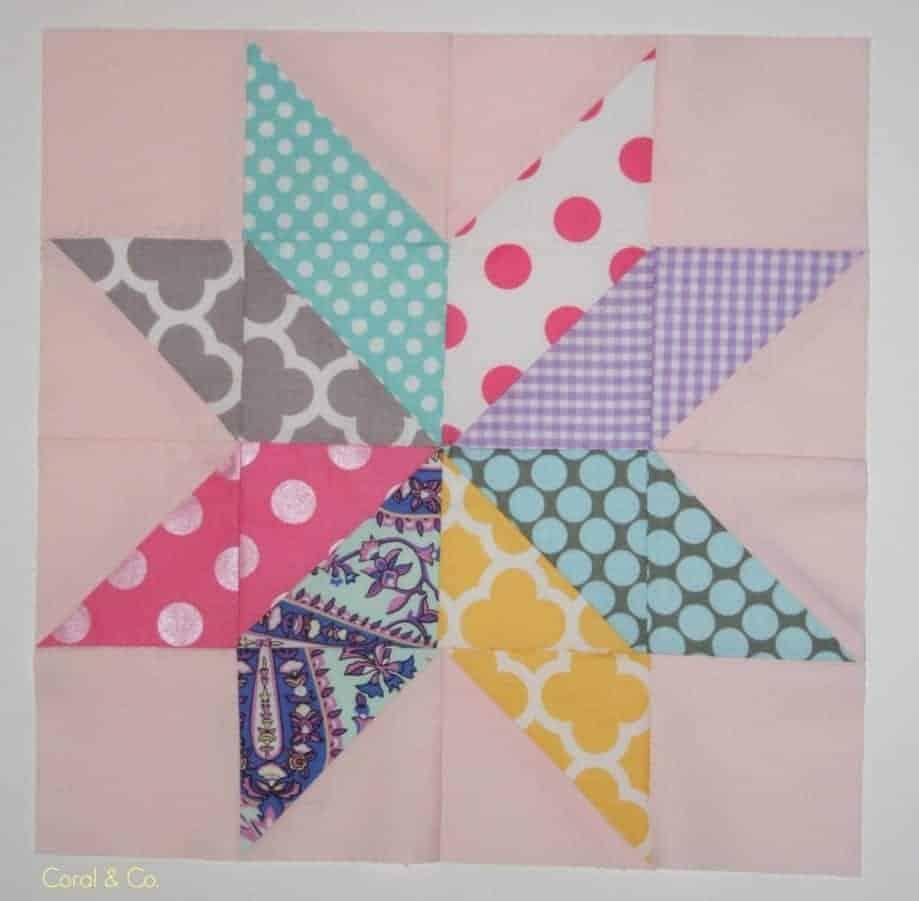 Starflower quilt block tutorial. How to make a starflower quilt block from Coral and Co.