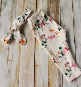 organic knit baby leggings and knot bow headband