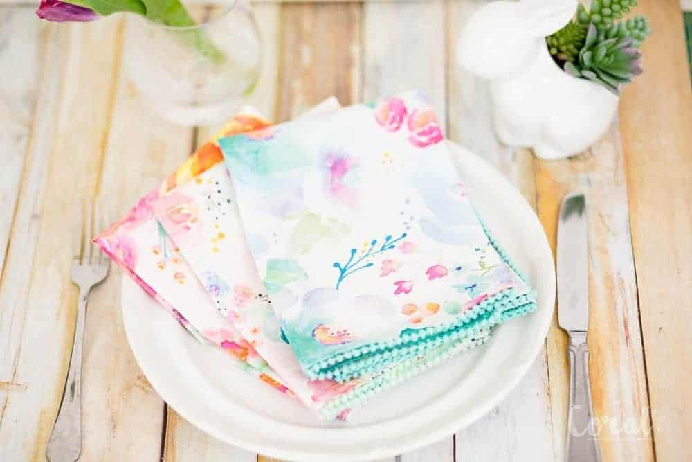 Diy Pom Pom Dinner Napkins With No Sew Mitered Corners