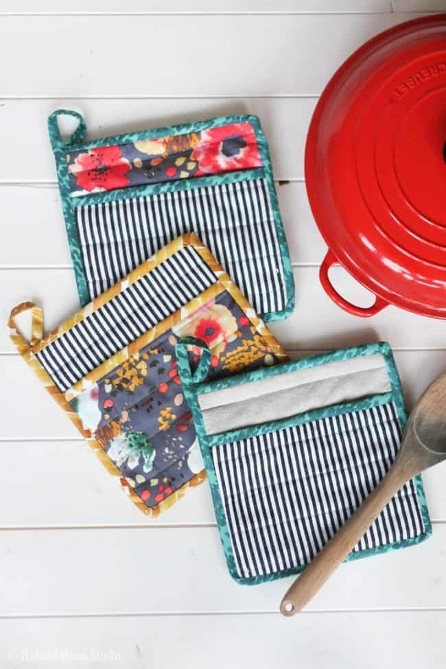 Learn How to Sew a Simple Potholder for Your Kitchen | Radiant Home Studio Surface Design, Sewing, and Home