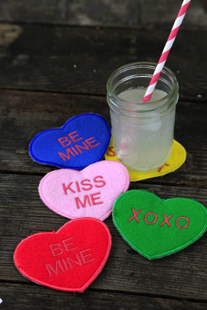 Conversation Heart Coasters – An In-the-Hoop Embroidery Tutorial