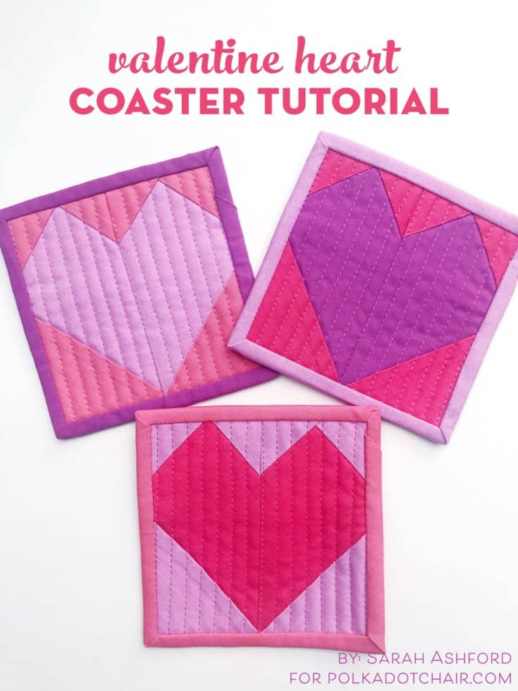 Quilted Heart Valentine Coaster Tutorial